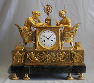 Antique French Empire ormolu & marble mantel clock of