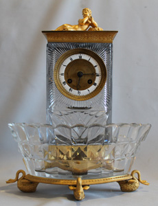Antique French Charles X crystal and ormolu mantel clock signed Lepine et Cie a Paris.