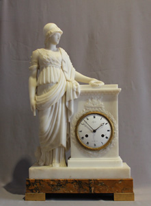 Antique white marble French clock, dial signed Lepaute, marble signed Franco Franchi dated 1822.