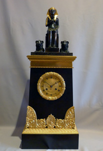 Antique Egyptian Revival restoration mantel clock signed Picnot Pere a Paris.