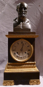 Antique Charles X  clock with bust of Greek philosopher.