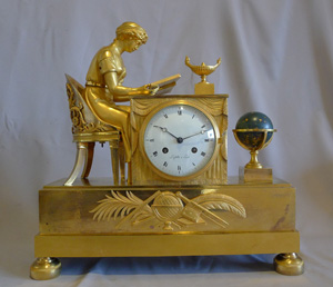 Antique rare French Empire ormolu clock of Astronomy Lesson signed Lafollie a Paris.