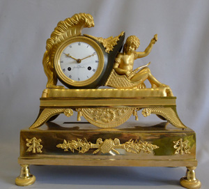 Antique Empire ormolu mantel clock signed G. Unden