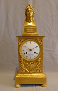 French Empire ormolu clock with bust of Virgill by Deniere & Matelin