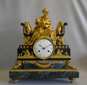 Antique French Empire clock by Adam L'Echopie the younger of mother nursing her baby.