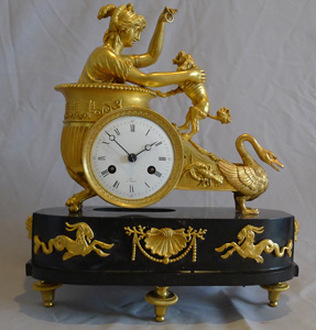 Antique French Empire clock of Aphrodite in her chariot designed by Jean-Andre Reiche.