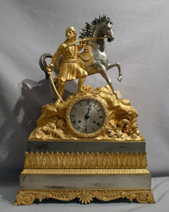 Antique French mantel clock of Greek Revolutionary Hero.