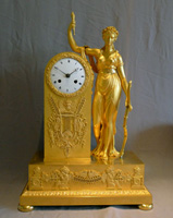 Antique French First Empire ormolu mantel clock of Diana