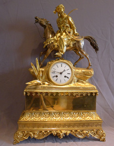 Antique French Charles X clock with Hellenistic interest being a Turk or Ottoman mounted horseman.