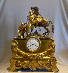 Rare and monumental antique French Charles X mantle clock of Napoleon beside Marengo, wiith an aide.