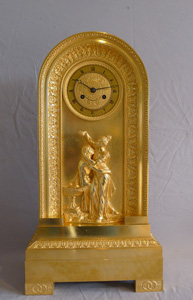 Antique French Empire ormolu clock of borne shape and of Hero and Leander.