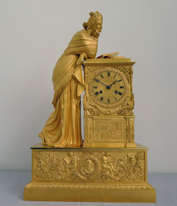 Antique French Charles X mantel clock by Guyerdet of Apollo's Muse Erato.