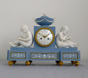 Antique French Directoire bisque library clock by Schmit and case attributed to Dihl and Guérhard