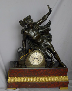 Fine and large antique Charles X mantel clock of Ajax.