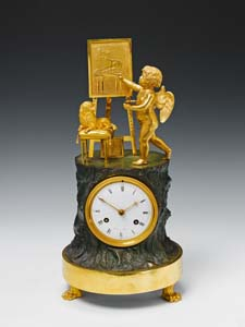 Fine French Empire Genre clock of Cupid as Artist by Maniere.