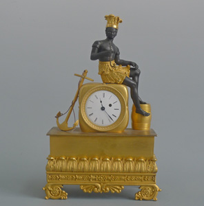 French Empire ormolu and bronze  Blackamoor or Pendule au  Bon Sauvage Mantel clock signed Alibert