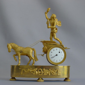 Magnificent miniature French Empire ormolu mantel clock,horse drawn chariot pulling Zephyr