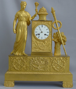 Antique French mantel clock of Ceres, in Ormolu from the Charles X period