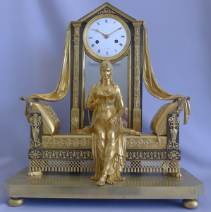 Antique French Empire mantel clock of Madame Recamier
