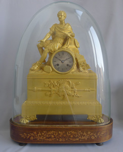 Antique French Charles X Musical ormolu mantel clock of Gaius Marius signed Robert Houdin