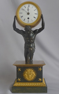 English Regency antique Ormolu and Patinated bronze mantel clock of Atlas holding the world