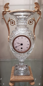 Antique French Baccarat crystal vase clock with ormolu mounts.