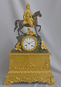 Antique French Greek Revolution or Hellenistic mantel clock of Turk on horseback