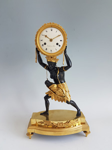 Antique French Blackamoor or Pendule au Negre mantel clock