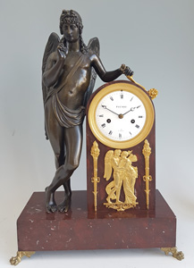 Antique French Empire Mantel Clock in Ormolu, Patinated Bronze and marble, signed Picnot