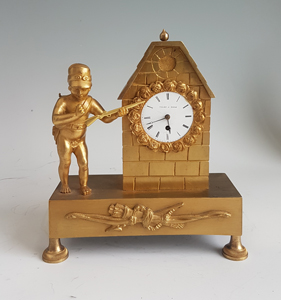 Miniature French Empire Ormolu mantel Clock