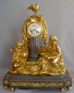 Antique French grey marble and ormolu clock in Louis XVIth style of science.