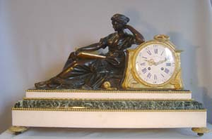 Antique French mid 19th century library clock as an