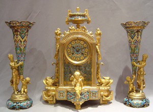 Antique French Napoleon III cloisonnee enamel and ormolu clock set