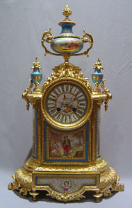 French antique blue celeste jewelled porcelain and ormolu with silver highights mantel clock