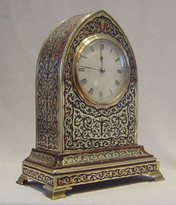 English boulle lancet shaped clock of fine quality.