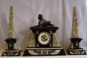 Antique French Egyptian Revival bronze and marble clock set