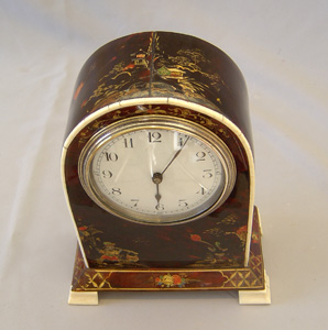 Rare antique scarlet tortoiseshell mantel clock with chinnoiserie painting