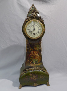 Antique French Vernis Martin miniature longcase clock.