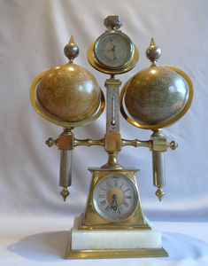 Desk compendium with two rotating terrestrial & celestial globes, thermometer, barometer & compass