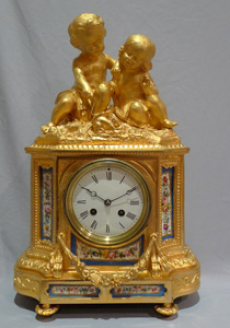Mantel clock, antique porcelain and ormolu, French Napoleon III