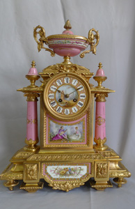 Antique French mantel clock, porcelain and ormolu, Napoleon III period.