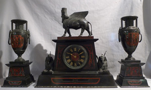 Antique Egyptian style, Egyptian revival mantel clock set.