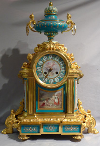 Antique very large mantel clock in ormolu and jewelled and hand painted bleu celeste porcelain.