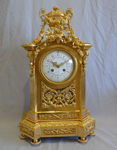 Antique French ormolu mantel clock of large size.