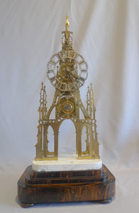 Antique skeleton clock with fusee and lever escapement  by Evans of Birmingham.