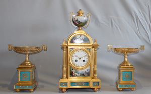 Antique French porcelain and ormolu clock set by Raingo Freres a Paris