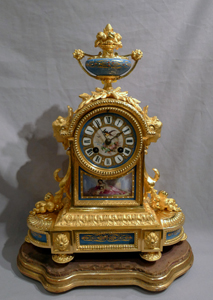 .Antique French Napoleon III ormolu and blue celeste porcelain mantel clock.