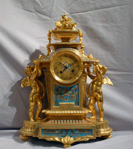 Antique French, rare Champleve enamel and ormolu mantel clock.