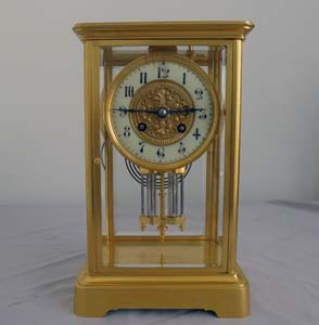 French antique 4 glass clock with movement by Marti.