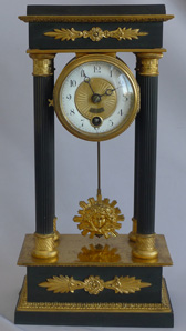 Antique German Portico mantel clock in Ormolu and patinated bronze by Lenzkirch